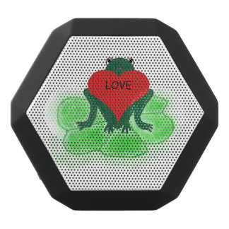 Custom Green Frog with Heart on Lily Pad Black Bluetooth Speaker