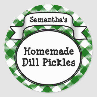 Custom Green Gingham Pickle Jar Lid Label Sticker