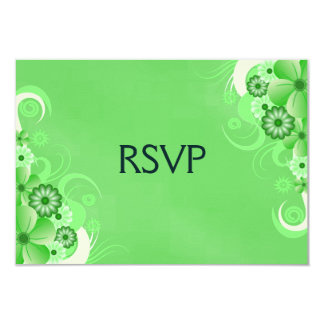 Custom Green Hibiscus Elegant RSVP Response Cards