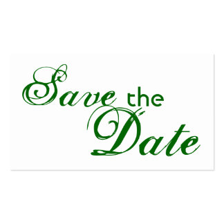 Custom green letter save the date wedding cards Double-Sided standard business cards (Pack of 100)