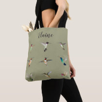 Custom Green North American Hummingbirds Tote Bag