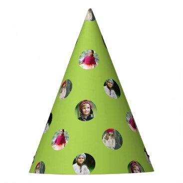 Halloween Themed Custom Green Photo Dot Party Hat