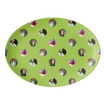 Halloween Themed Custom Green Photo Dot Porcelain Serving Platter