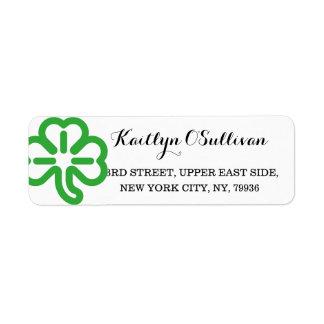 Custom Green Shamrock Clover Irish St Patricks Day Label
