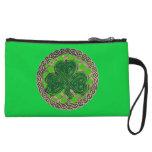 Custom Green Shamrock On Celtic Knots Clutch Purse Wristlet Purses