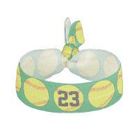 Custom Green Softball Hair Ties