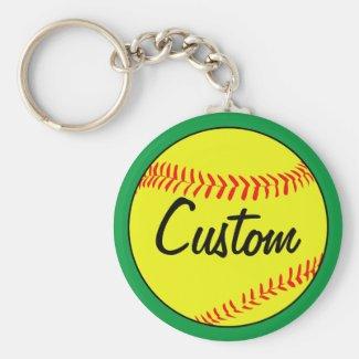 Custom Green Softball Keychain