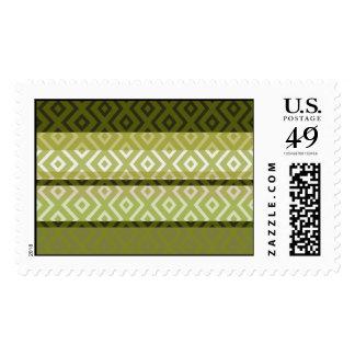 Custom Green Stripes Diamond Geometric Pattern Postage Stamps