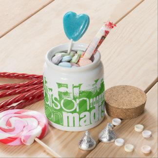 Custom Green Stripes & White Custom Name Pattern Candy Jar