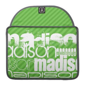 Custom Green Stripes & White Custom Name Pattern Sleeve For MacBooks