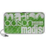 Custom Green Stripes & White Custom Name Pattern Notebook Speakers