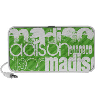 Custom Green Stripes & White Custom Name Pattern Laptop Speaker