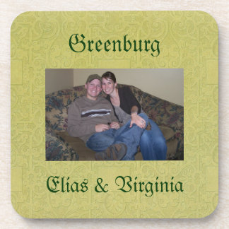 Custom Green Vintage Photo Personalized Coaster