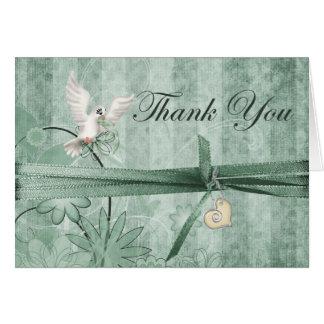 Custom Green Vintage Wedding Thank You Card
