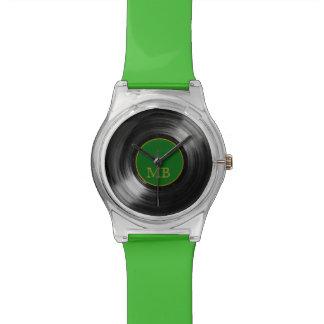 custom green vinyl record watch