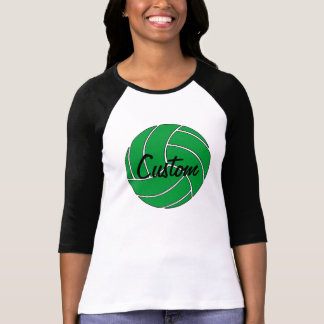 Custom Green Volleyball 3/4 Sleeve Shirt