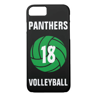 Custom Green Volleyball Number & Team Phone Case