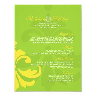 Custom green yell and banana yellow damask wedding card