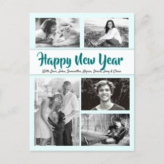 Custom Greeting Holiday Photo Collage Postcard