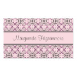 Custom Grey and Pink Geometric Damask Double-Sided Standard Business Cards (Pack Of 100)