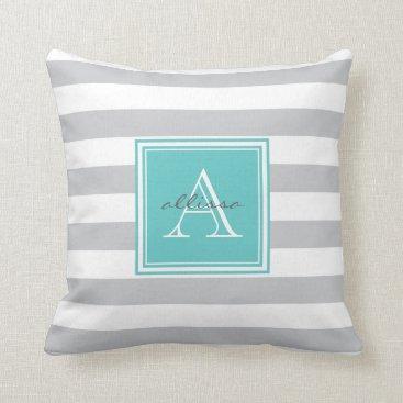 Beach Themed CUSTOM Grey Aqua Monogrammed Awning Stripe Throw Pillow