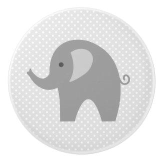 Custom grey elephant nursery door and drawer knobs ceramic knob