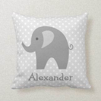 custom grey elephant throw pillow for nursery room - Grey Throw Pillows