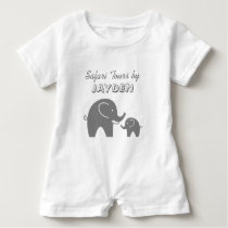 Custom grey safari elephant baby romper for kids