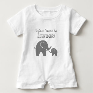 Custom grey safari elephant baby romper for kids