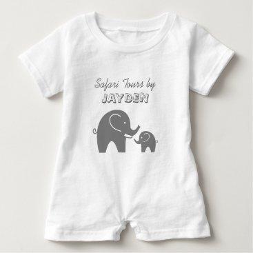 Toddler & Baby themed Custom grey safari elephant baby romper for kids