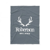Custom grey vintage deer antlers fleece blanket