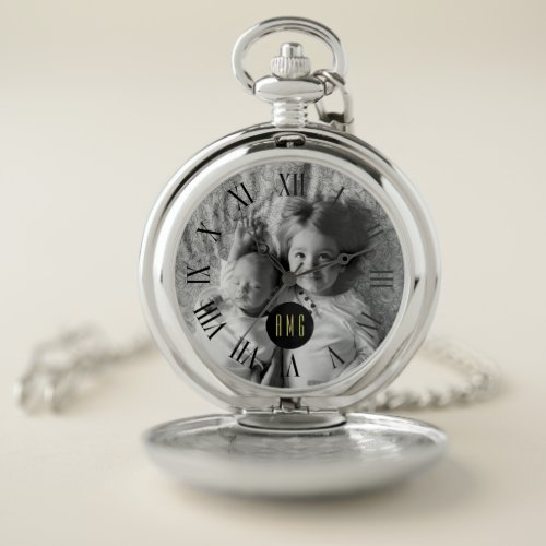 Custom Greyscale Photo | Monogram Pocket Watch