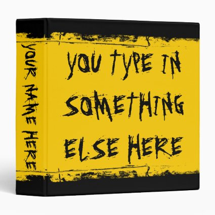 Custom Grunge School Bus Yellow Binder