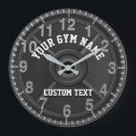 """Custom Gym Clock<br><div class=""""desc"""">Custom gym clock featuring a weightlifting barbell weight. Personalize the text to make a great gift for your gym, athletic program, personal training business or more. Or, make a fun custom gift for someone. This is a great gift for athletes, trainers, coaches, sports programs and more. However, it can also...</div>"""