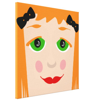 Custom Hair Color Big Eyes Cartoon Girl Canvas