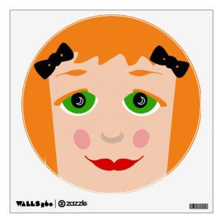 Custom Hair Color Big Eyes Cartoon Girl Kids Wall Decal
