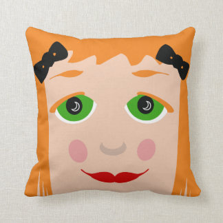 Custom Hair Color Big Eyes Cartoon Girl Pillow