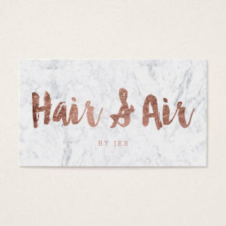 Custom Hair modern rose gold typography marble Business Card