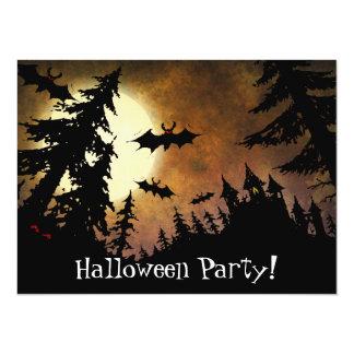 Custom Halloween Bats, Spooky Castle and Full Moon Card