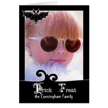 Halloween Themed Custom Halloween Black Trick or Treat Photo Card
