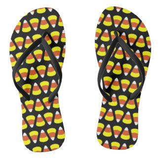 Custom Halloween Candy Corn Flip-Flops Flip Flops