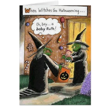 Halloween Themed Custom Halloween Funny Witches Trick or Treat Card