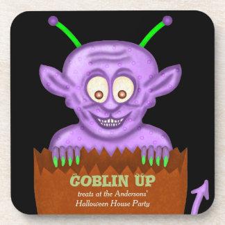 Custom Halloween House Party Purple Goblin Humor Coaster
