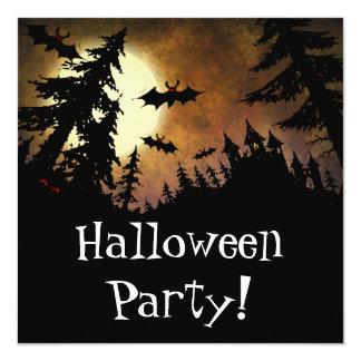Custom Halloween Party Bats, Castle and Moon Card