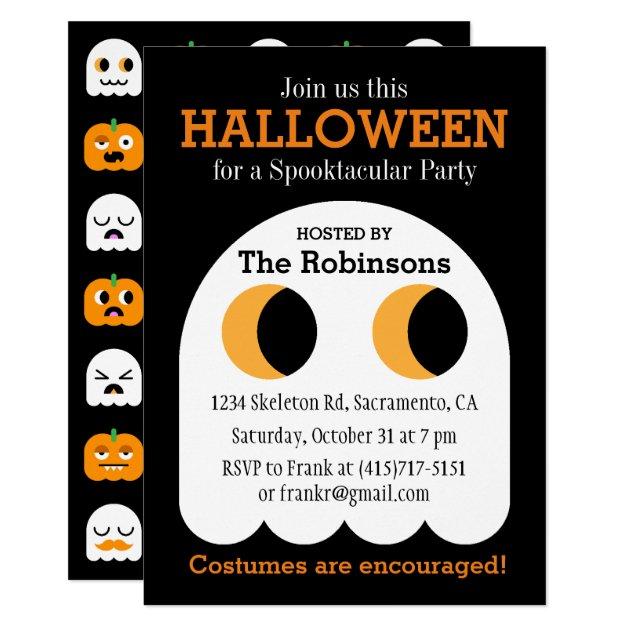custom halloween party invitations ghost pumpkin