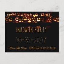 Custom Halloween Party Save The Date Pumpkin Announcement Postcard