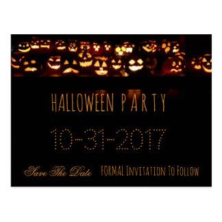 Custom Halloween Party Save The Date Pumpkin Postcard