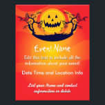 """Custom Halloween Spooky Moon Flyer<br><div class=""""desc"""">Custom event flier that you can edit and promote your upcoming event! Edit all of the text on this custom event flier with smiling yellow Halloween moon and trees background! This custom event flyer is designed for you to edit and promote any event you have planned! You can edit the...</div>"""