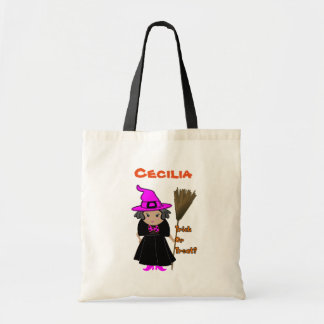 Custom Halloween Treat Bags - Funny Witch in Pink
