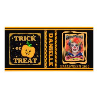 Custom Halloween Trick / Treat Pumpkin Photo Card